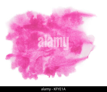Color, red - pink splash watercolor hand painted isolated on white background, artistic decoration or background - Stock Photo