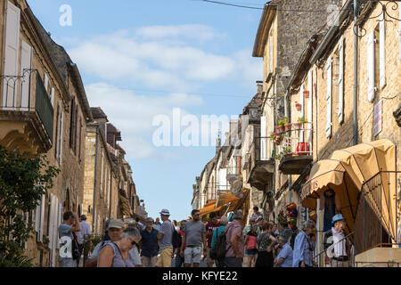 Rue Porte De La Combe In Domme Dordogne Department In Stock Photo