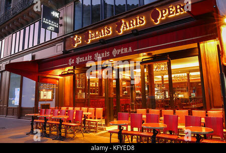 The traditional Parisian cafe Le relais Paris Opera located near Opera palace Garnier in Paris, France. - Stock Photo