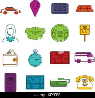 Taxi icons doodle set - Stock Photo