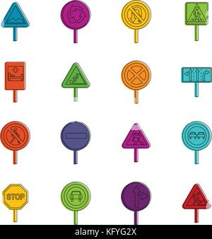 Different road signs icons doodle set - Stock Photo