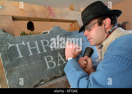 Gabriel Hummerstone, a stone letter carver - Stock Photo