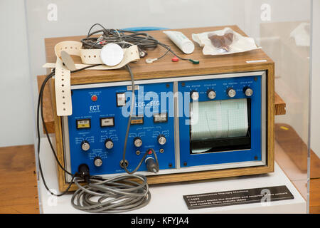 St. Joseph, Missouri. Glore Psychiatric Museum.  Electroconvulsive therapy machine. - Stock Photo