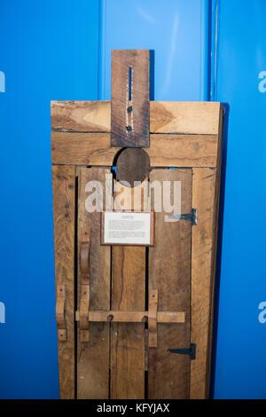 St. Joseph, Missouri. Glore Psychiatric Museum. The lunatic box. - Stock Photo