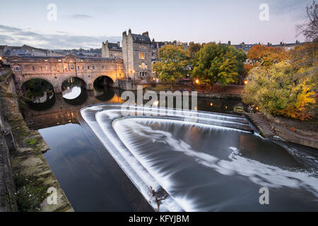 Pulteney Bridge, on the river Avon, a popular viewpoint in the city of Bath, England - Stock Photo