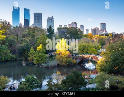 Autumn in Central Park, Gapstow Bridge, New York City - Stock Photo