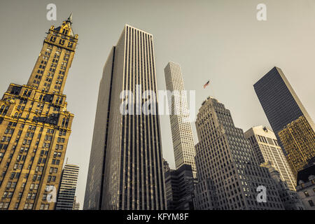 New York City architecture.From left: Sherry Netherland Hotel, General Motors Building, 432 Park, Bergdorf-Goodman - Stock Photo