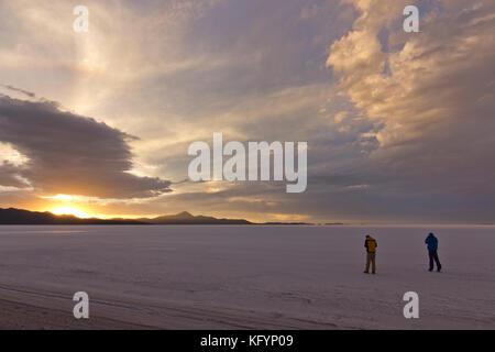 Salt flat in the Atacama desert, Uyuni, Bolivia - Stock Photo