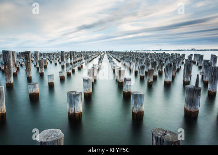 Iconic princes jetty/pier remains located in Port Melbourne. Well known to most photographers. - Stock Photo
