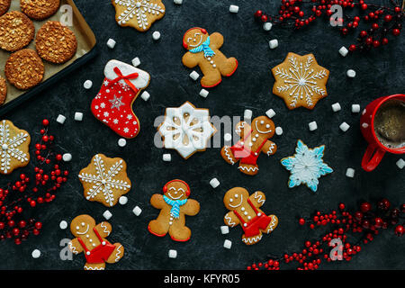 christmas gingerbreads and coffee  - Stock Photo