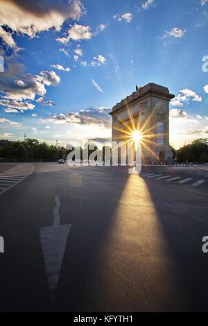 Arcul de Triumf Arch of Triumph Bucharest Romania - Stock Photo