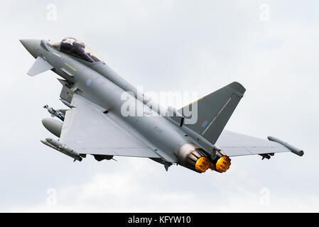 A Eurofighter Typhoon twin-engine fighter jet of the Royal Air Force at RAF Fairford. - Stock Photo
