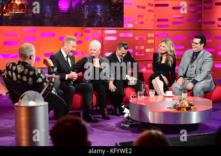 (From the left) Graham Norton, Sir Kenneth Branagh, Dame Judi Dench, Johnny Depp, Michelle Pfeiffer and Josh Gad appearing on the Graham Norton Show filmed at the London Studios, London.