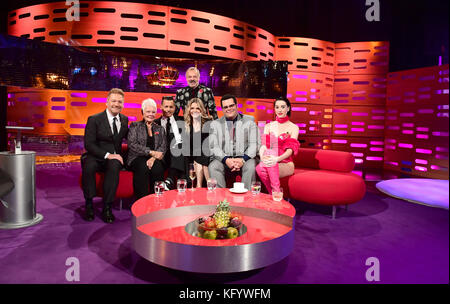 (From the left) Sir Kenneth Branagh, Dame Judi Dench, Johnny Depp, Graham Norton, Michelle Pfeiffer, Josh Gad and St.Vincent appearing on the Graham Norton Show filmed at the London Studios, London.