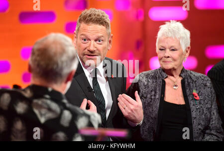 (From the left) Graham Norton, Sir Kenneth Branagh and Dame Judi Dench appearing on the Graham Norton Show filmed at the London Studios, London.