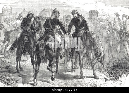 Meeting of the Generals, Sir Henry Havelock,Sir James Outram, Sir Colin Campbell, First relief of Lucknow, Indian Rebellion of 1857