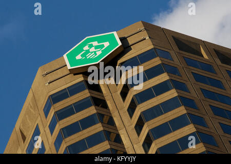 Montreal,Quebec,18 June, 2013.Caisse Desjardins logo atop their corporate offices in downtown Montreal.Credit:Mario - Stock Photo
