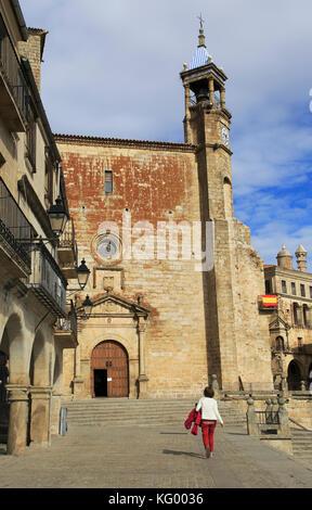 Iglesia de San Martin church in Plaza Mayor h medieval town of Trujillo, Caceres province, Extremadura, Spain - Stock Photo