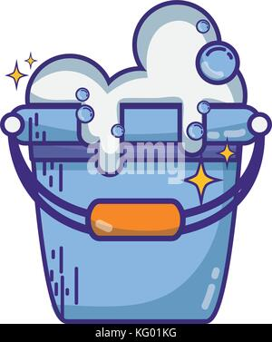 laundry pail with detergent bubbles to clean - Stock Photo