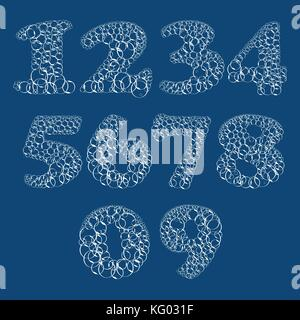 Set of numbers from bubbles in water. Vector Illustration - Stock Photo