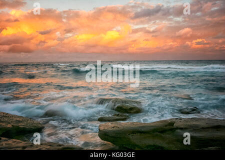 Seascape and sunset sky, coogee trail, sydney, Australia - Stock Photo
