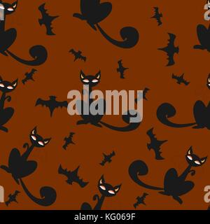 Seamless pattern of Halloween cats and bats in black, traditional orange background. Good for textile print, web, - Stock Photo