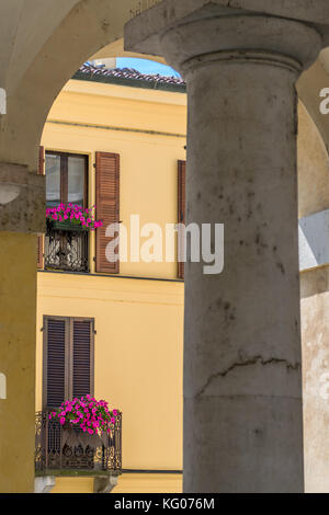 View on balcony from under the columns - Stock Photo