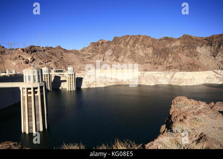 View of the Hoover Dam in Nevada, USA - Stock Photo