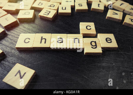 Change word on wood cubes on table - Stock Photo