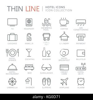 Collection of hotel thin line icons - Stock Photo