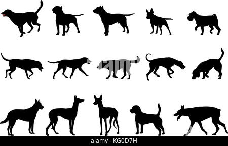 dogs collection silhouettes - vector - Stock Photo