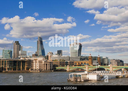 LONDON, UK - AUGUST, 11 2013; The new London's giants office tower under construction, photographed from the Thames - Stock Photo