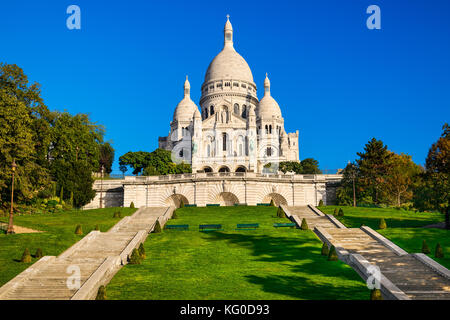 Basilica Sacre Coeur in Montmartre in Paris, France - Stock Photo