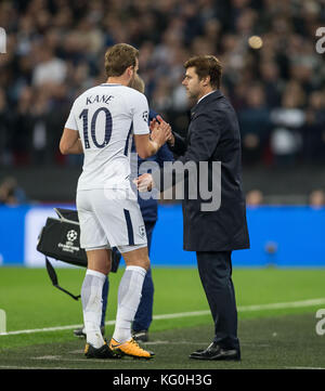 Spurs Manager Mauricio Pochettino as Harry Kane of Spurs is substituted during the UEFA Champions League group match - Stock Photo