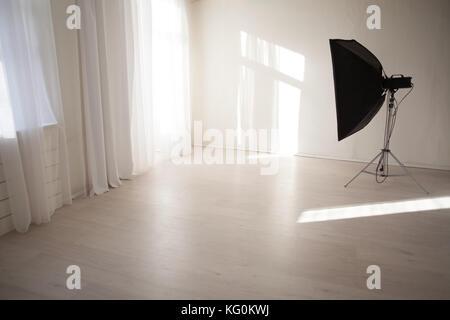 Flash white backgrounds Photo Studio decor - Stock Photo