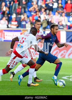 Paris Saint-Germain (PSG) vs. FC Girondins de Bordeaux at Parc des Princes stadium  Featuring: 10, Neymar, 13 YOUNOUSSE - Stock Photo