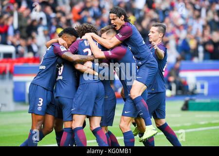 Paris Saint-Germain (PSG) vs. FC Girondins de Bordeaux at Parc des Princes stadium  Featuring: 10, Neymar, 3, Presnel - Stock Photo