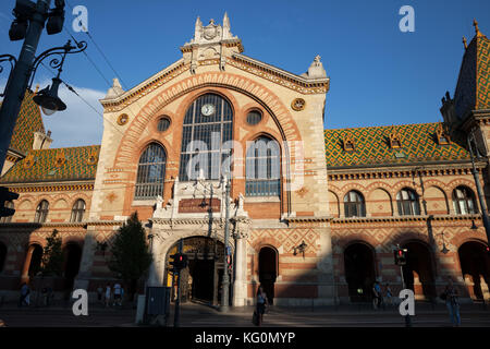 Great Market Hall in Budapest, Hungary, largest and oldest indoor market in the city designed and built by Samu - Stock Photo