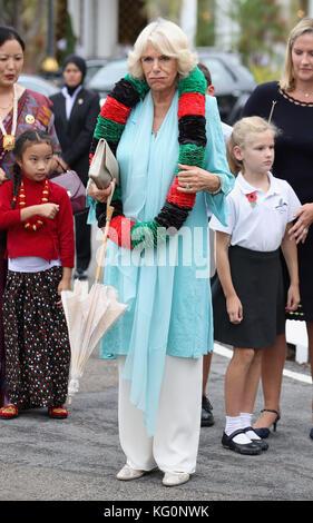 The Duchess of Cornwall attends a Gurkha Reception at the Edinburgh Palace in Bandar Seri Begawan, Brunei. - Stock Photo