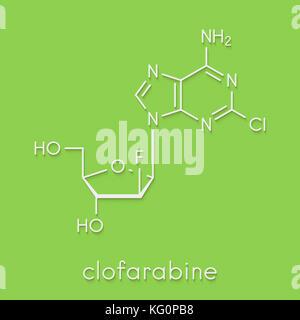 Clofarabine cancer drug molecule (purine nucleoside antimetabolite). Skeletal formula. - Stock Photo