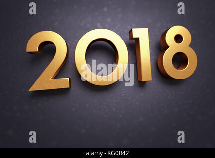 Year 2018 typescript date, gold colored, on a soft glittering black greeting card - Stock Photo