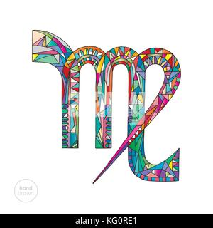 Virgo zodiac sign. Horoscope vector illustration. Astrological hand drawn series. Colorful magic symbol in modern - Stock Photo