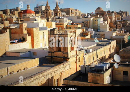 Panoramic view over the Grand Harbour hotel in Valletta, Malta . Bell tower of Santa Marija ta' Gesu Church - Stock Photo