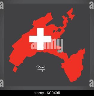 Vaud map of Switzerland with Swiss national flag illustration - Stock Photo