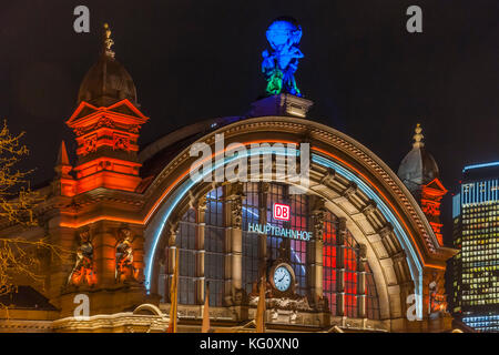 Frankfurt am Main, Hessen, Germany :  Luminale 2016 :  Hauptbahnhof - Tower 185 - Stock Photo