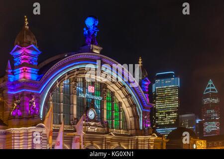 Frankfurt am Main, Hessen, Germany :  Luminale 2016 :  Hauptbahnhof - Tower 185 - MesseTurm - Stock Photo