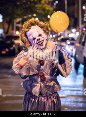 New York's annual Village Halloween Parade 2017, It Clown - Stock Photo