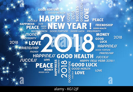 Greeting words around year 2018 typescript on a festive blue background - Stock Photo