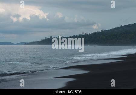 Black volcanic sand beach in Tangkoko National Park, Sulawesi, Indonesia - Stock Photo