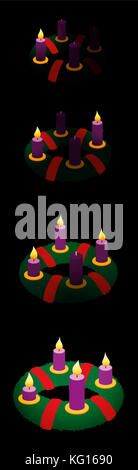Advent wreath with one, two, three, four burning candles in chronological order on first, second, third and fourth - Stock Photo